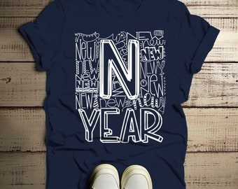 c0ab3dca3c9 Men's New Year's Shirt Typography Shirts New Years Tee Happy New Year T  Shirt