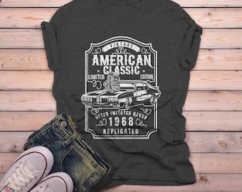 a346b76fea5f Men s 1968 T Shirt American Classic Shirts Muscle Car TShirt Graphic Tee  50th Birthday