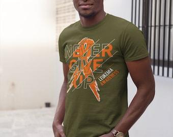 e9092470d4 Men's Leukemia T Shirt Never Give Up Leukemia Shirts Orange Ribbon Cancer TShirt  Leukemia Shirts Typography