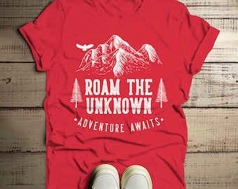 2aca85c2bdb6 Men s Roam Unknown T Shirt Hipster Camping Shirts Adventure Awaits  Mountains Graphic Tee Hipster