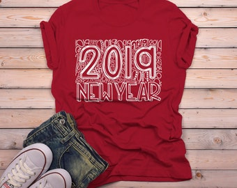 03f2a403aa8 Men's New Years Shirt 2019 Typography Shirts New Year's Tee Happy New Year  2019 T Shirt