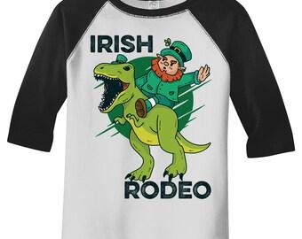 f8639d895 Kids Funny Leprechaun T-Shirt Irish Raglan 3/4 Sleeve Rodeo T-Rex Shirts  Graphic Tee Dinosaur Tshirt Hipster TShirts Toddler Tees