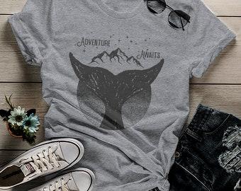 84cce163 Women's Whale Hipster T Shirt Mountains Shirt Birds Wanderlust Adventure  Awaits Graphic Tee