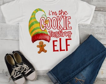 b1dc2c0e Kids Funny Elf T Shirt Cookie Tasting Matching Christmas Shirts Graphic Tee  Watercolor Toddler Tee Boy's Girl's