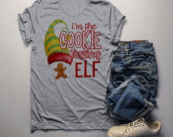 6a7ef188 Men's Funny Elf T Shirt Cookie Tasting Matching Christmas Shirts Graphic  Tee Watercolor
