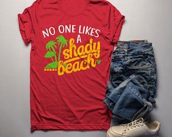 b8fca3a566 Men's Funny T Shirt Shady Beach Shirts Summer Fun Play On Words Saying Tee