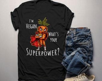 40fe0a550 Men's Vegan T Shirt Super Carrot Graphic Tee Vegans Gift Idea Superpower  Tshirt