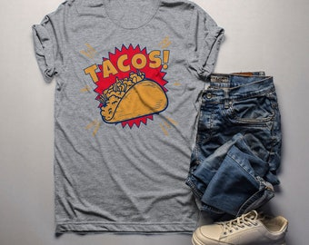 65c100e10 Men's Funny Tacos T Shirt Foodie Graphic Tee Taco Shell Comic Shirts Taco  Night Tshirt