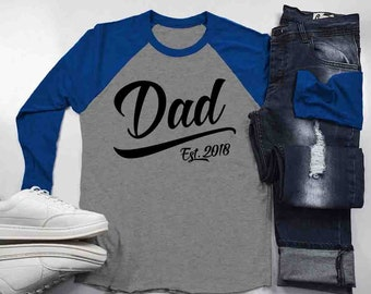 5445795c Men's Dad Est. 2018 Shirt Fathers Day 3/4 Sleeve Raglan Baseball Shirt  Shirts By Sarah