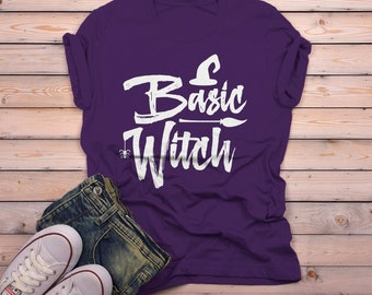 7e34640c8 Men's Basic Witch T Shirt Funny Halloween Shirts Broom Hat Witches Graphic  Tee