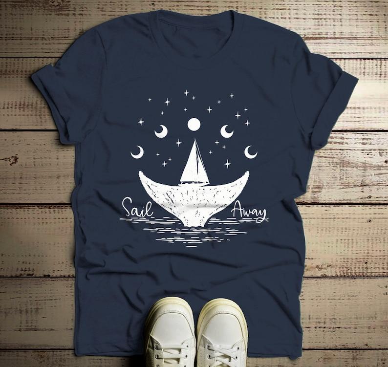 e6085394 Men's Whale Hipster T-Shirt Sail Away Sailboat Shirt | Etsy