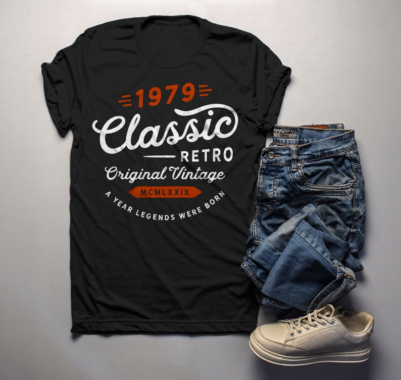 24adf728d Men's Classic Retro Original Vintage T Shirt 1979 Birthday | Etsy