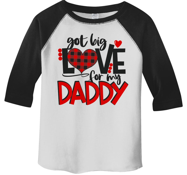 Kids Valentine/'s Day T Shirt Got Love For Daddy Shirt Plaid Heart Tee Valentines Day Shirts 34 Sleeve Raglan
