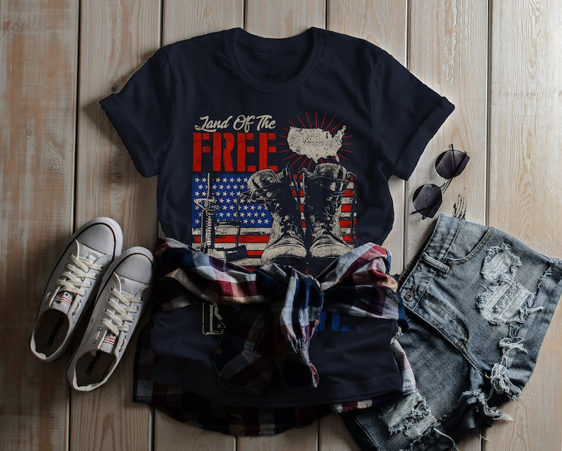 a8904ea50 Women's 4th July T-Shirt Land Free Home Brave Tee Soldier | Etsy