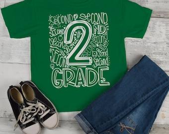 Kids Cute 2nd Grade T Shirt Typography Cool Tee Boy's Girl's Grade 2 Second Back To School TShirt