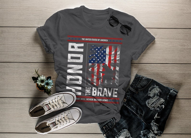 d9418d4a0 Women's Memorial Day T-Shirt Patriotic Honor The Brave | Etsy