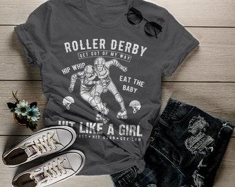 Women's Roller Derby T Shirt Hit Like Girl Shirt Derby Girls Skate Shirts Grunge Distressed Graphic Tee
