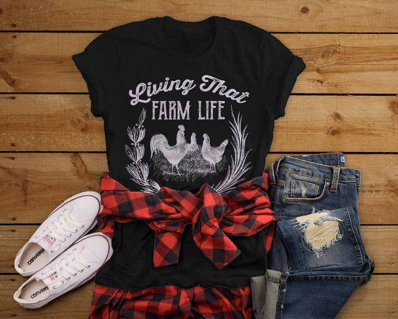 90775411 Women's Vintage Farm T-Shirt Living That Life Farming | Etsy