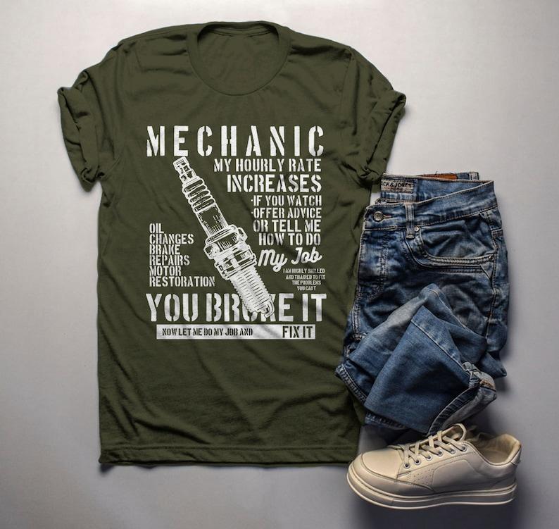 ac5e9ca3e Men's Funny Mechanic T Shirt Hourly Rate Shirts Spark Plug | Etsy