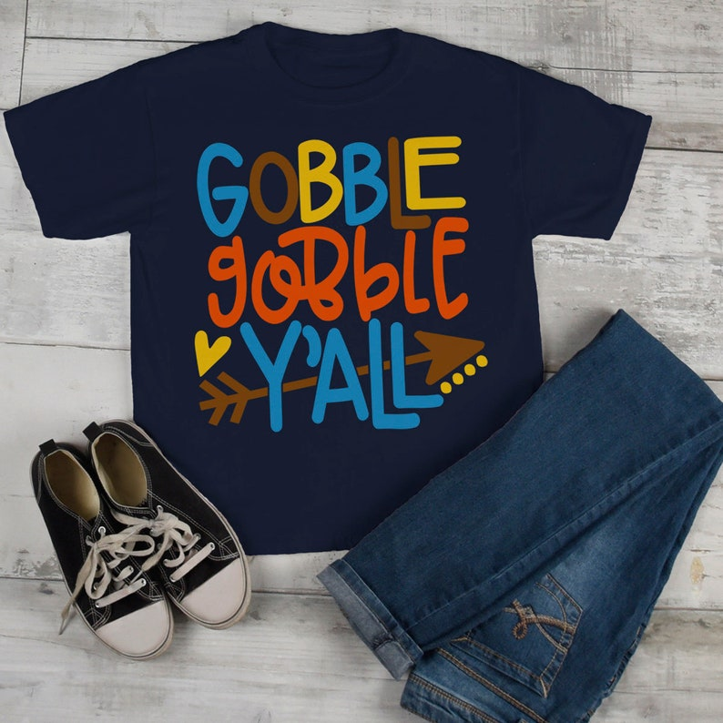 fcb0589a24 Kids Thanksgiving T Shirt Gobble Gobble Y'all Tee Colorful | Etsy