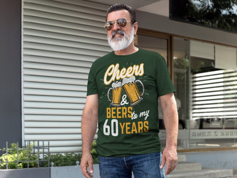 8713fb3ea Men's Funny 60th Birthday T Shirt Cheers Beers Sixty Years | Etsy