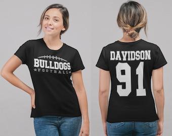 Women's Personalized Football T Shirt Custom Football Mom Shirt Personalized Football Rear Printed Custom Shirts