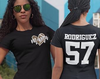 Women's Personalized Football Mama T Shirt Custom Football Mom Shirt Personalized Rear Print Shirts Football Shirts
