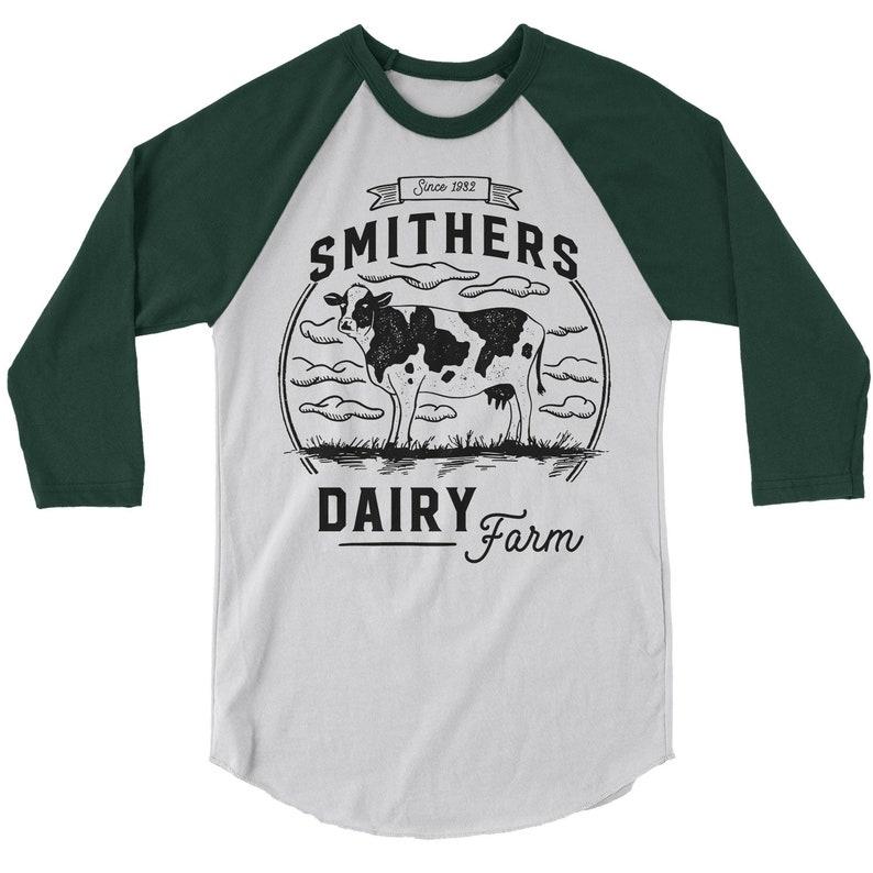 5764ca74d8d3f Men's Personalized Farm T-Shirt Vintage Dairy Farmer Shirts Raglan 3/4  Sleeve Custom Tee Cow Shirts Customized TShirt