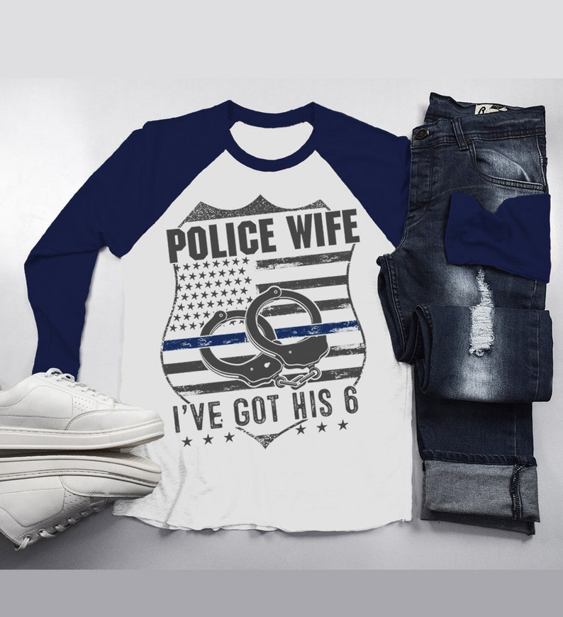 f7cbc440 Men's Police Wife T-Shirt Got His 6 Handcuffs Badge Shirt | Etsy