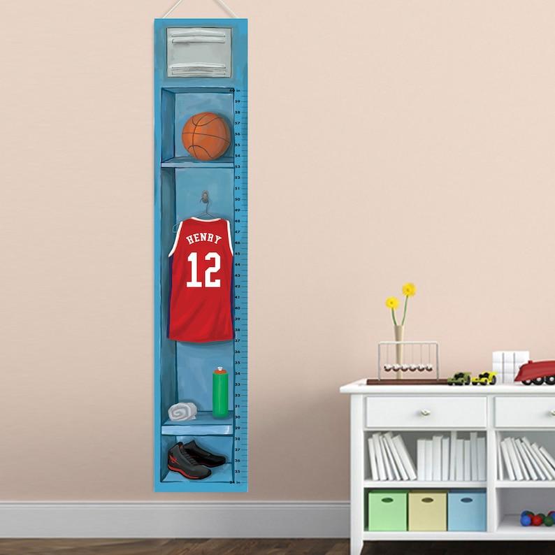 Personalized Basketball Locker Growth Chart Children Height Charts