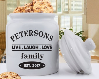 Personalized Cookie Jar - Ceramic Cookie Jar - Live Laugh Love Cookie Jar - Classic Cookie Jar - GC1077