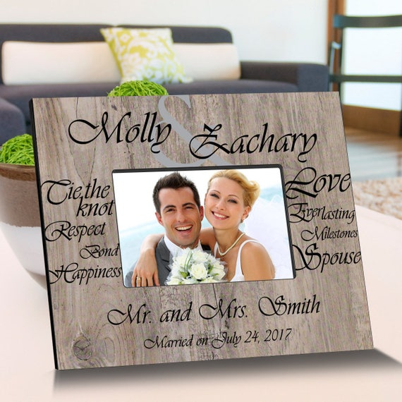 Tying The Knot Wooden Picture Frame Personalized Picture Etsy