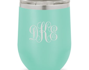 Teal - 12oz. Insulated Wine Tumbler - Personalized Stemless Wine Glass - Wine Tumbler - Bridesmaid Gifts - Gifts for Her - GC1739
