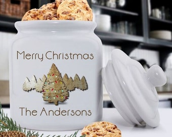 Personalized Christmas Cookie Jars - Christmas Cookie Jars - Holiday Ceramic Cookie Jar - GC1079