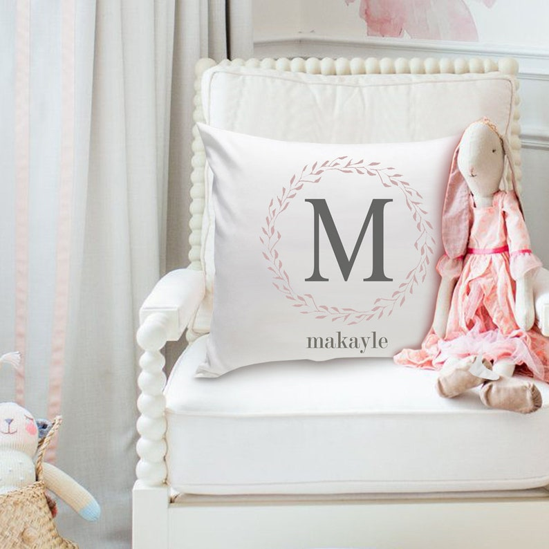Girls Name Personalized Throw Pillow  Wreath  Nursery Decor image 0