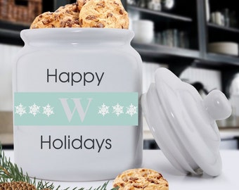 Initial Holiday Cookie Jar - Christmas Cookie Jar - Happy New Year Cookie Jar - Happy Holidays Cookie Jar - Personalized Cookie Jar