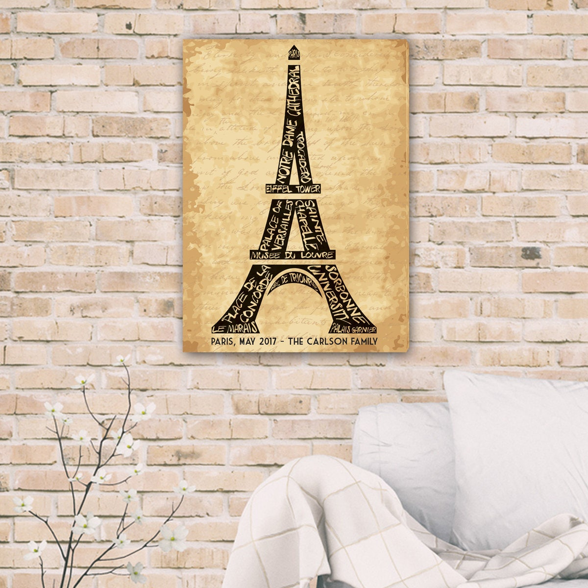 Personalized Eiffel Tower Canvas Canvas Wall Decor Printed | Etsy