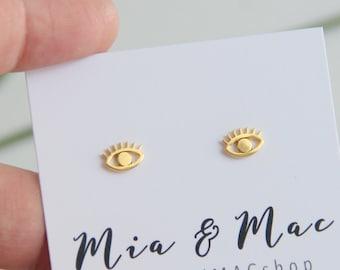 Tiny Evil Eye earrings, Evil Eye, Eye Earrings, Tiny Earrings, Minimalist Gold Jewelry, Bridesmaid Gift, Earrings, Modern Jewelry