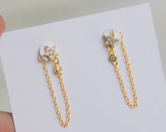 Star Chain earrings, Chain earrings, Cz earrings, Gold earrings, Minimalist earrings, Dainty earrings, Dangle chain earring,
