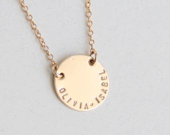 5/8in Gold Filled Necklace,  Personalized necklace, Hand stamped, Necklace, Gold Necklace, Bridesmaid Gift, Name necklace