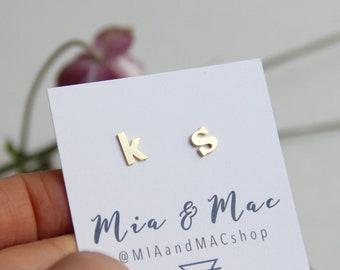 Gold, 2 Different Lowercase Letter Earrings, Initial Necklace, Gold Earrings, Tiny earrings, Minimalist Gold Jewelry, Bridesmaid Gift