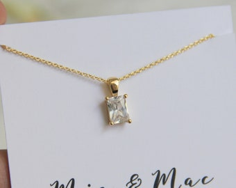 CZ Diamond Necklace, Diamond Necklace, Gold Necklace, Simple Necklace, Plain Necklace, Clear Stone necklace