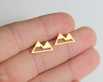 Mountain earrings, Gold Mountain Studs, Outdoor earrings, Adventure Studs, Mountain stud earrings, Minimalist Gold Jewelry, Christmas gifts