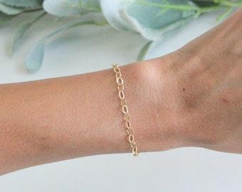 Abigail bracelet, Circle Link gold Bracelet, Gold Bracelet, Gold Link Bracelet, Link Chain Bracelet, Layered Link Chain