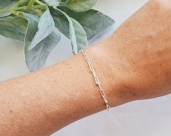 Silver Link Bracelet , Silver Link Bracelet, Paperclip Bracelet, Link Chain Bracelet, Layered Link Chain, Sterling Silver