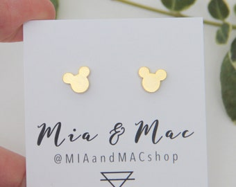 Mickey Mouse post earrings, Small Mickey Earrings , Gold Mickey Earrings, Minimalist Gold Jewelry, Bridesmaid Gift, Earrings, Modern Jewelry