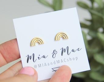 Rainbow post earrings, Small Rainbow Earrings , Gold Rainbow Earrings, Minimalist Gold Jewelry, Bridesmaid Gift, Earrings, Modern Jewelry