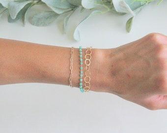 Bold Abigail bracelet, Circle Link gold Bracelet, Gold Bracelet, Gold Link Bracelet, Link Chain Bracelet, Layered Link Chain