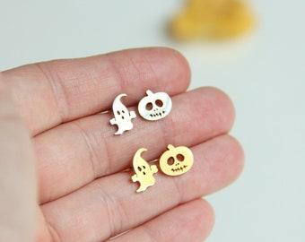 Ghost and Pumpkin Earrings, Pumpkin Earrings, Ghost Earrings,  Halloween Earrings