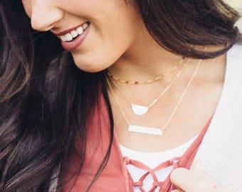 The Aubrey Bar Necklace, Gold Bar Necklace, 14kt Gold filled Bar Necklace, Initial necklace, Hand stamped, Gold Necklace, Nameplate Necklace